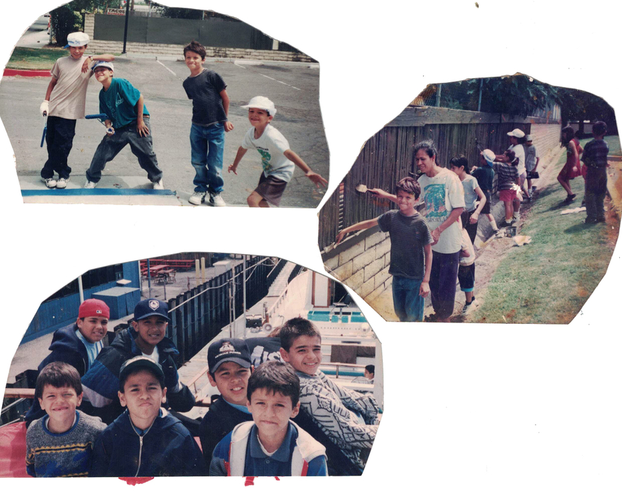 Cut out photos from Tony's childhood